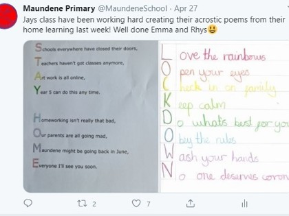 Twitter home learning acrostic poems 27.4.20